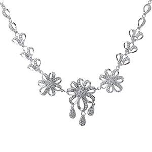 Pearl Paradise Floral Cz Necklace Set