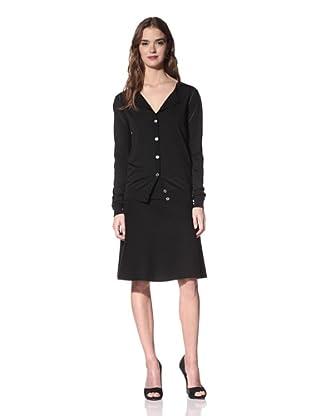 NINA RICCI Women's Silk Button Front Cardigan (Black)