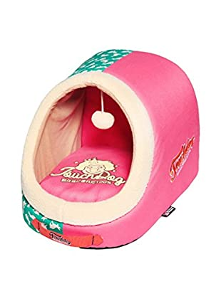 Touchdog Rabbit Pattern Active-Play Indoor Panoramic Designer Dog Bed, Pink/Teal