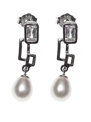 My Silver Pendientes Greca Perla Circonita