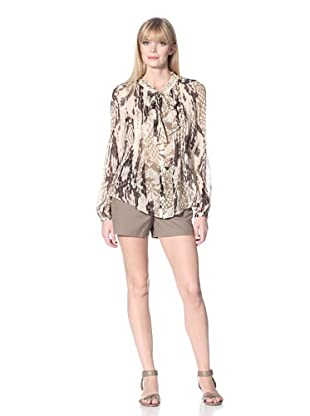 Hale Bob Women's Snake Print Blouse with Neck Tie (Taupe)
