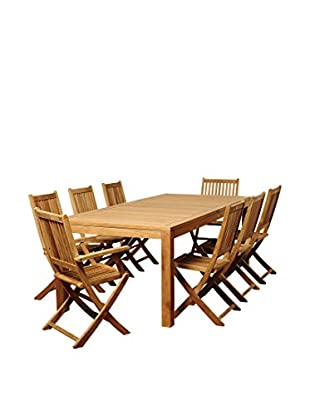 Amazonia Teak New Jersey 9-Piece Rectangular Dining Set, Brown