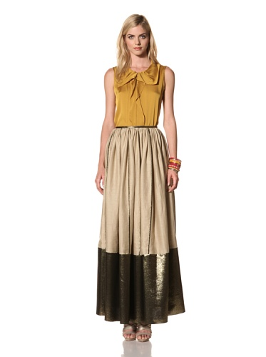Thakoon Women's Maxi Skirt with Metallic Trim (Khaki Gold)