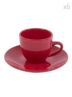 Kaleidos Set 6 Tazze Caffè con Piattino (Rosso)