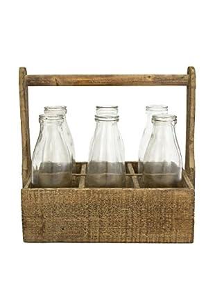 bambeco Reclaimed Wood Carrier & 6 Bottles Set, Brown
