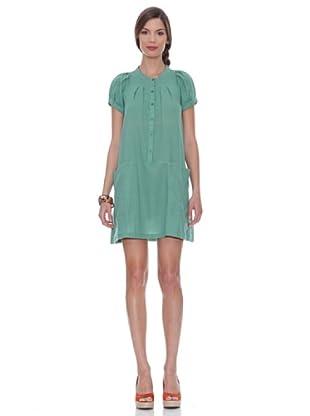 SIYU Vestido Lisos Ancho Manga Corta (Verde Claro)