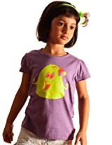 Unamia Girls Cotton Printed Purple Half Sleeve Top - Fba_300421