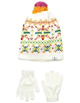 London Fog Big Girls' Knit Jacquard Beanie with Pom and Solid Magic Glove