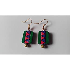 Shingles d'sire Small Dangler Earrings in Green, Blue & Pink