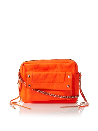Possé Women's Andy Pouch with Chain & Leather Strap (Neon Orange)