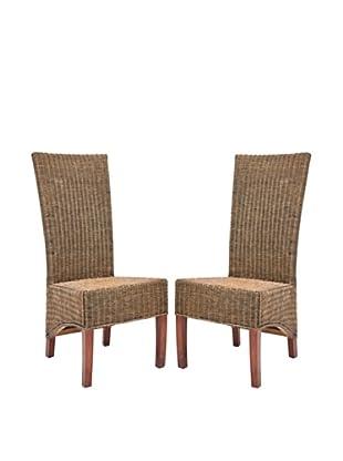 Safavieh Set of 2 Siesta Side Chairs, Honey Black Wash