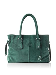 Tod's Women's Small Draw-Top Satchel, Green