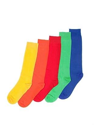Sockaholic Pack de 5 Pares Calcetines Caña Alta Lisos Cristal (Multicolor)