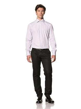 Attolini Men's Aldo Dress Shirt (White and Purple Stripe)