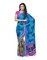 Anara Reniyal Printed Saree [NXOSR7466VTK_Blue ]