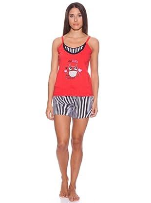 Bkb Pijama Tirante, Estampado, Bordado, Pantalón Listas Verticales (Rojo)
