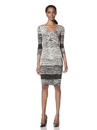 Nue by Shani Women's Printed V-Neck Dress (Black/White)