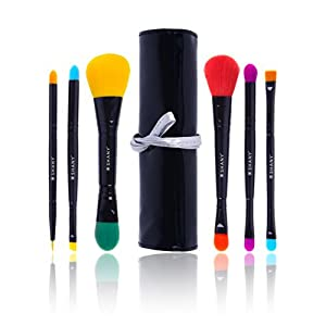 SHANY 6 Piece Double Sided Travel Brush Set with Pouch Synthetic and Natural Hair, Luna