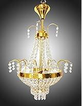 Prop It Up Antique Design Golden White Crystal Chandelier (Dia - 33cm, Height - 60cm, Medium)
