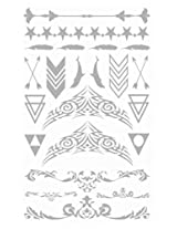 Metallic Silver Jewelry Inspired Temporary Bling Tattoo by Eufouria Inc. YW-014