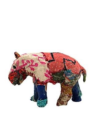 Vintage Sari Fabric Paper Mache Hippo I, Multi