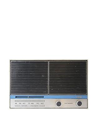 1950s Vintage RCA Dual Speaker AM Radio, Cream/Black/Blue/Silver