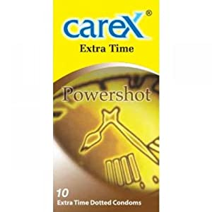 Carex Powershot 10 Extra Time Dotted Condoms X 2