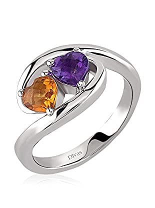 Divas Diamond Anello Amethyst And Citrine Two Heart Ring