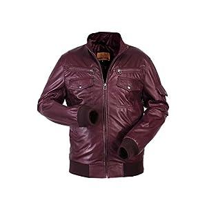 Biker burgundy leather jacket