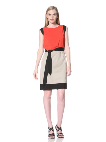 Tahari by A.S.L. Women's Belted Colorblock Dress (Red/Khaki)