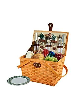 Picnic At Ascot Frisco Basket For 2, Honey/Green Plaid