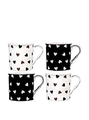 Home Essentials Set of 4 Black & White Hearts 10-Oz. Mugs