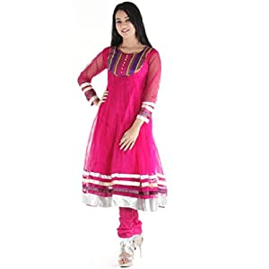 Urbane Woman Women's Net Anarkali Suit (uw.ak.03_Pink_XX-Large)