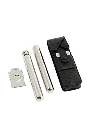 Bey-Berk Cigar Case, Silver/Black