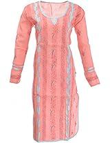 Lucknow Chikan Industry Women's Cotton Straight Kurta (LCI-351, Peach, L)
