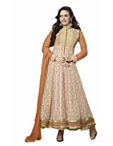 Suchi Fashion Orange & Cream Embroidered Net Semi Stitched Anarkali Suit