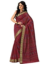 Orbymart Deep Red Color Cotton Printed Saree - 55626766