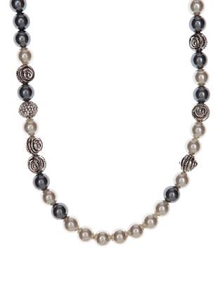 Pertegaz Collar Perlas Anudadas Gris