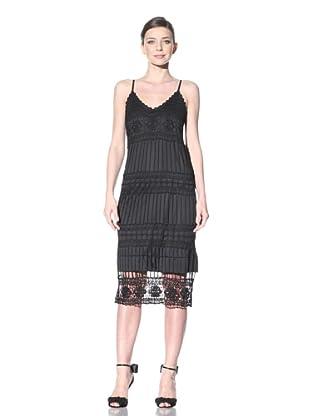 ABS by Allen Schwartz Women's Spaghetti Strap Crochet Dress (Black)