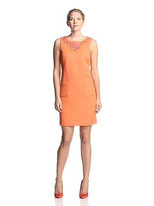 Sandra Darren Women's Sleeveless Necklace Dress (Orange)
