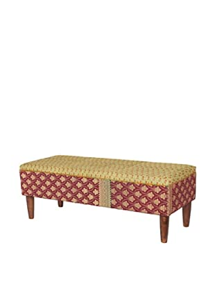 One of a Kind Kantha Bench, Red/Amber Multi