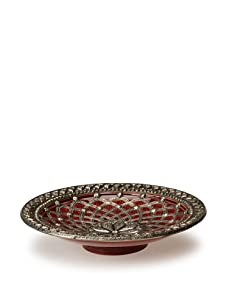 Traditional Moroccan Ceramic Plate with Metal Trim (Red)