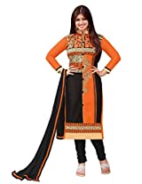 Blissta Orange Galze cotton designer embroidered dress material