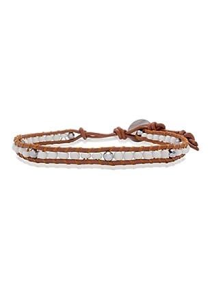 Lucie & Jade Echtleder-Armband Glasbeads, Glaskristall braun/weiß/silber