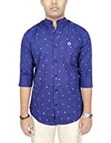 AA' Southbay Men's Blue Buoy Printed Mandarin Collar Long Sleeve Party Casual Shirt