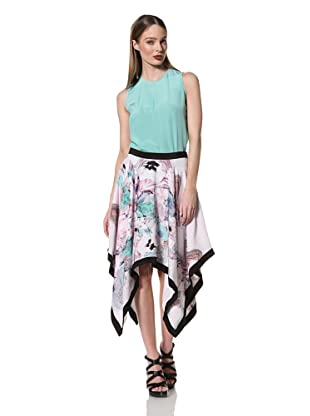 Prabal Gurung Women's Handkerchief Hem Skirt (Turquoise Floral/Black)