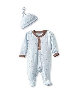 Coccoli Baby Cotton Footie with Cap (Blue)