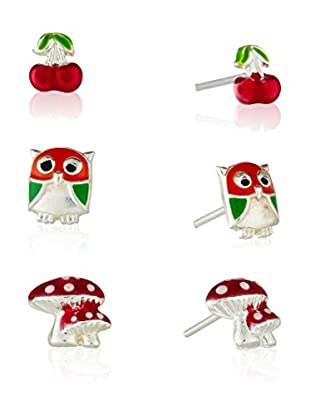 Silver One Pendientes Set Fresas,Cerezas Y Buho Colors