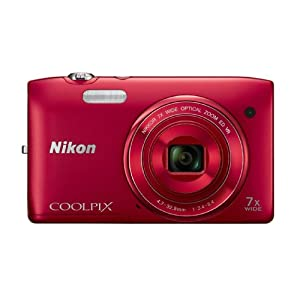 Nikon COOLPIX S3500 20.1 MP Digital Camera with 7x Zoom (Red) (OLD MODEL)