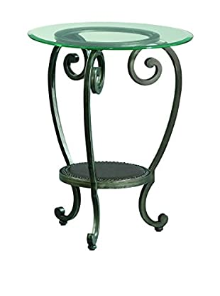 Bassett Mirror Company Dauphine Round Chairside Table, Pewter
